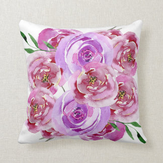 Lilac violet and purple watercolor peony roses throw pillow