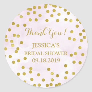 Lilac Water color Gold Confetti Bridal Shower Classic Round Sticker