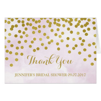 Lilac Watercolor Gold Dots Bridal Shower Thank You Card