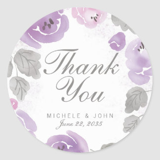 Lilac Watercolor Roses Thank You Favor Stickers