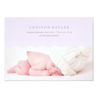 "LILAC WAVES   BIRTH ANNOUNCEMENT 5"" X 7"" INVITATION CARD"