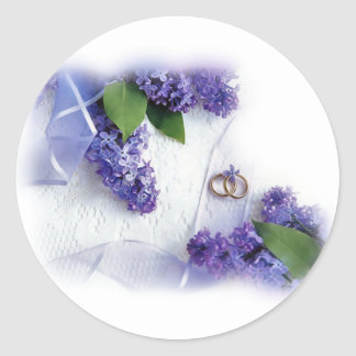 lilac wedding classic round sticker