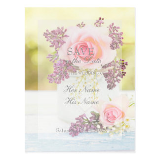 Lilacs and Roses Vintage Save the Date Wedding Postcard
