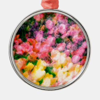 Lilacs and Tulips Metal Ornament