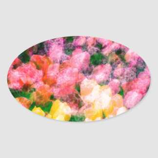 Lilacs and Tulips Oval Sticker