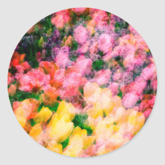 Lilacs and Tulips Round Sticker