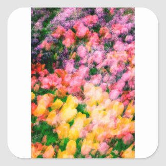 Lilacs and Tulips Square Sticker