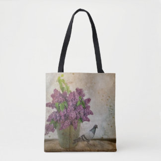 Lilacs in an old Rusty Bucket Tote Bag