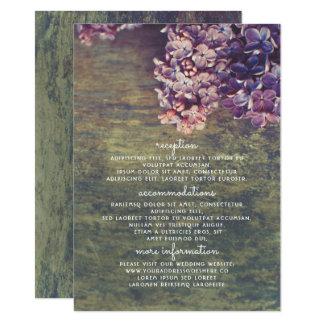 Lilacs Purple Floral Wedding Details Insert Card