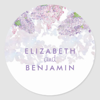 Lilacs Watercolor Floral Elegant Wedding Classic Round Sticker