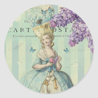 Lilas au printemps classic round sticker