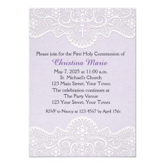 Lilas avec la dentelle, croix, religieuse carton d'invitation  12,7 cm x 17,78 cm