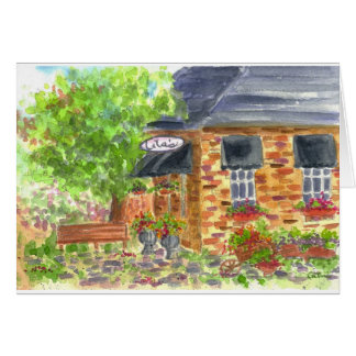 Lila's Cafe Watercolor Painting Blank Card
