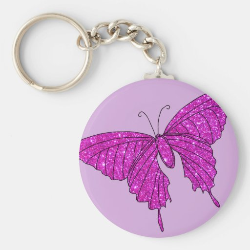 Lilas Girly de papillon de scintillement d'étincel Porte-clé