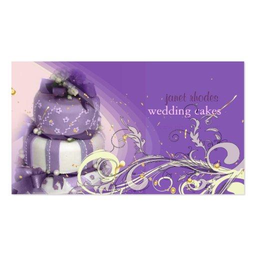 Lilas/lavande/gâteau de chocolat, boulangerie cartes de visite professionnelles