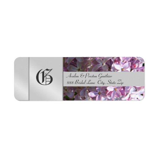 Liliac Flower Monogram Silver Wedding Label Return Address Label