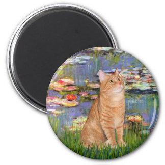 Lilies 2 - Orange Tabby cat 46 2 Inch Round Magnet