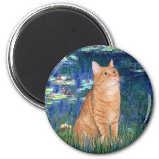 Lilies 5 - Orange Tabby SH cat 46 2 Inch Round Magnet