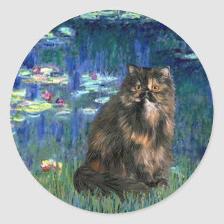 Lilies 5 - Persiasn Calico cat Classic Round Sticker