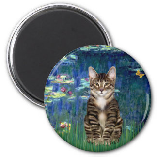 Lilies 5 - Tabby Tiger cat 30 2 Inch Round Magnet
