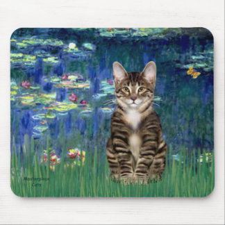 Lilies 5 - Tabby Tiger cat 30 Mouse Pad