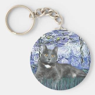 Lilies 6 - Grey cat Basic Round Button Keychain