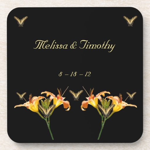 Lilies and Butterflies Drink Coasters
