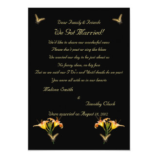 Lilies and Butterflies Elopement 2 5x7 Paper Invitation Card