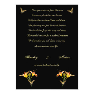Lilies and Butterflies elopement announcement