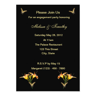 Lilies and Butterflies 5.5x7.5 Paper Invitation Card
