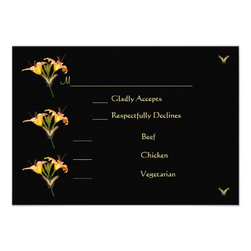 Lilies and Butterflies rsvp card Custom Invite