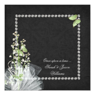 """Lilies and Diamonds Vow Renewal 5.25"""" Square Invitation Card"""