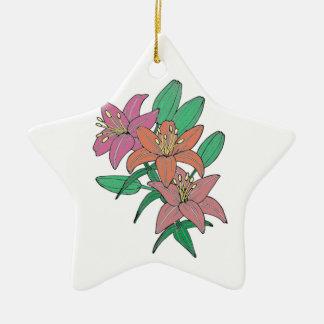Lilies Ceramic Star Ornament