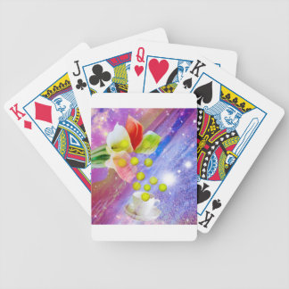 Lilies drop tennis balls to celebrate . bicycle playing cards
