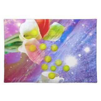 Lilies drop tennis balls to celebrate . placemat