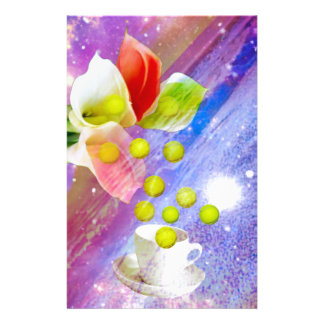 Lilies drop tennis balls to celebrate . stationery