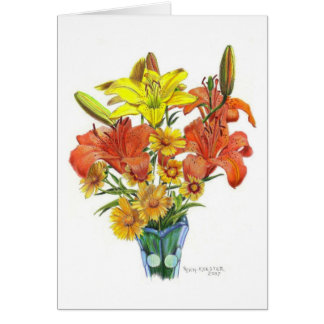 Lilies galore in Colored Pencil Greeting Card