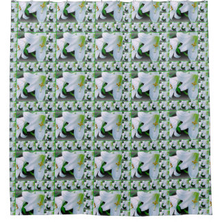 Lilies galore white and green shower curtain