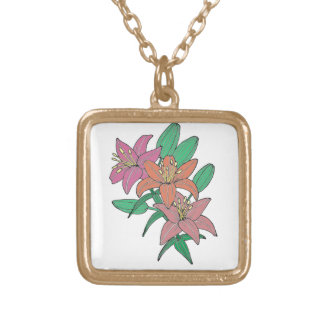 Lilies Gold Plated Necklace