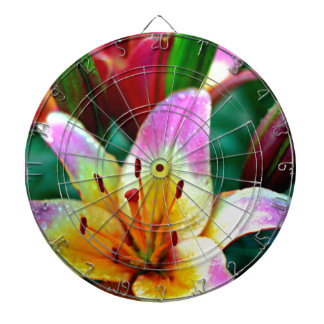 Lilies in Rain Dartboard With Darts