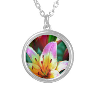 Lilies in Rain Silver Plated Necklace