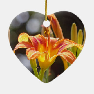 Lilies in the Sunshine Ceramic Heart Ornament