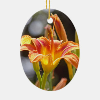 Lilies in the Sunshine Ceramic Oval Ornament