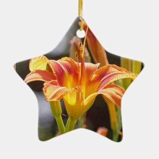 Lilies in the Sunshine Ceramic Star Ornament