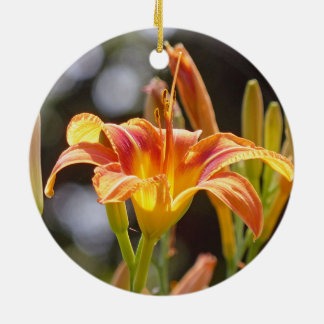 Lilies in the Sunshine Round Ceramic Ornament