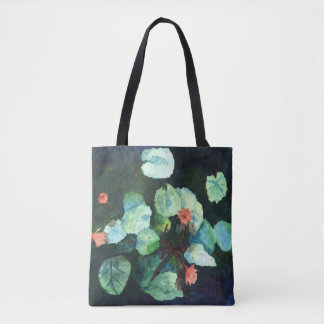 Lilies In Water - Blue, Peach & Green Tote Bag