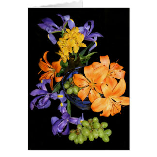 Lilies, irises and grapes card