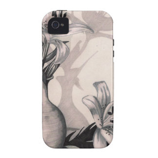 lilies sketch Case-Mate iPhone 4 covers