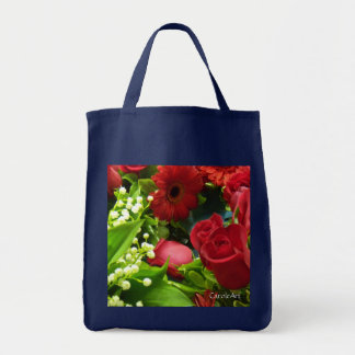 Lilies White Roses Red Tote Bag