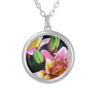 Lilies with Rain Silver Plated Necklace